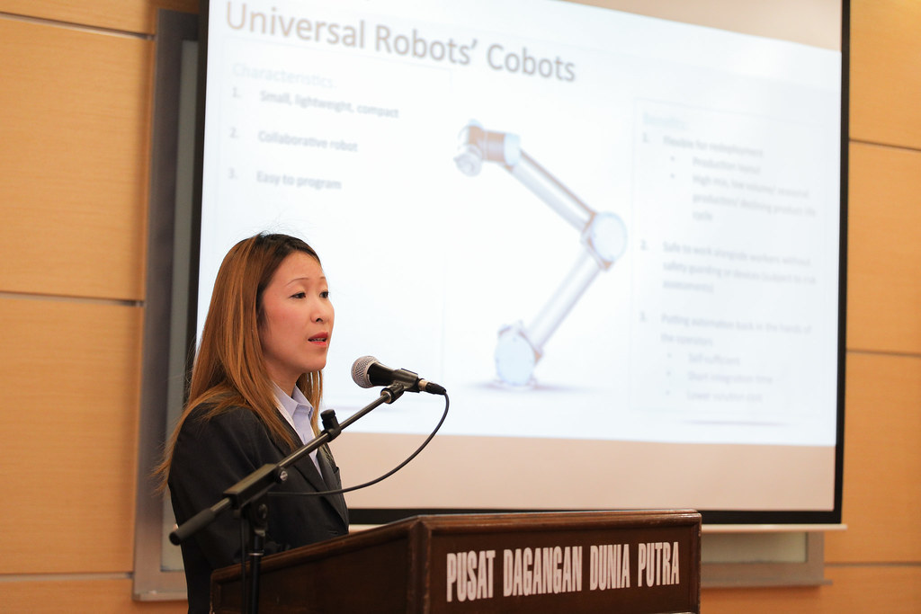 Shermine Gotfredsen, General Manager, Southeast Asia and Oceania of Universal Robots explain about their robotic arm, the Cobot UR3