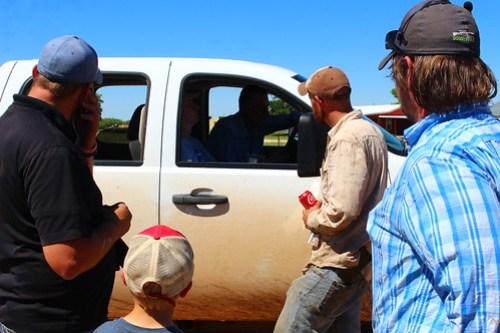 Mens aid. Brady, Salesman Mike, Matt, John, Ryan (Farmer Glen's son) and Farmer Glen.