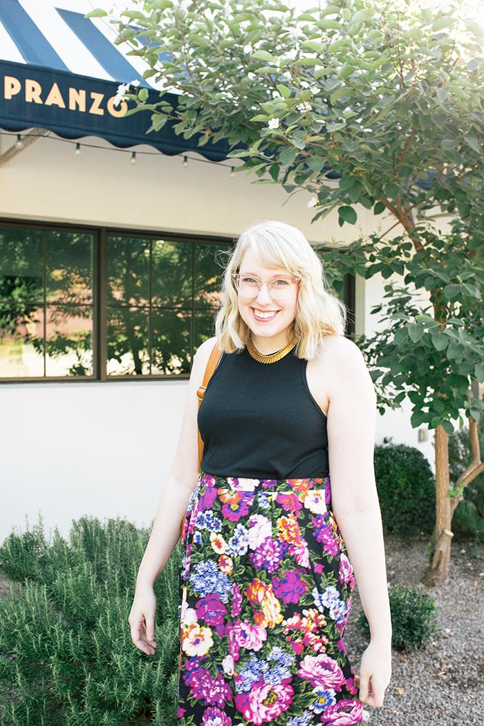 austin style blogger vintage floral midi skirt9