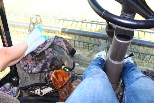 Shoes are optional in my combine cab.