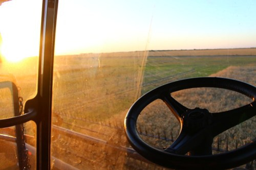 Combine cab sunset.