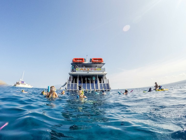 Best place to snorkel in Maui! Molokini Crater with it's beautiful clean blue waters. Check out the best tour! - Maui Travel Tips, Molokini Snorkeling, Things to do Maui   Wanderlustyle.com
