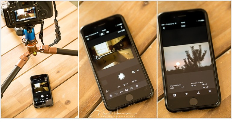 Verbinden met een smartphone geeft de mogelijkheid om remote te fotograferen (midden) of de beelden op je smartphone terug te kijken. Ik heb niet gekeken wat je vervolgens met die foto's kan doen maar verwijderen, downloaden en een rating toevoegen bestaat tot de mogelijkheid. Combineer dit met RAW processing in de camera, en je hebt wel direct een (minimaal) bewerkt beeld te pakken.