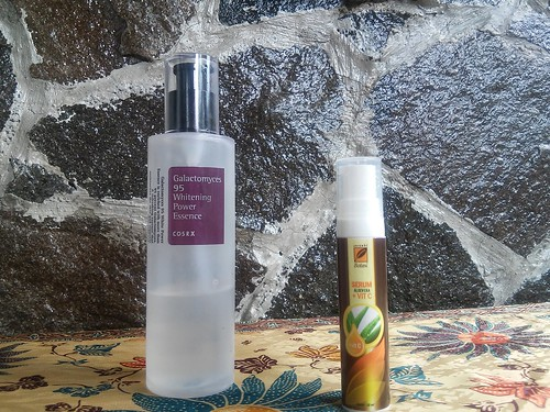 Morning Essence and Serum Routine, COSRX Galactomyces 95 Whitening Essence and Serambi Botani Vitamin C Aloe Vera Serum