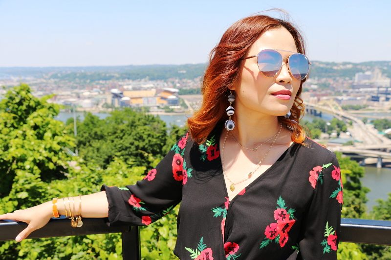 floral-dress-striped-ball-earrings-mirrored-sunglasses-5