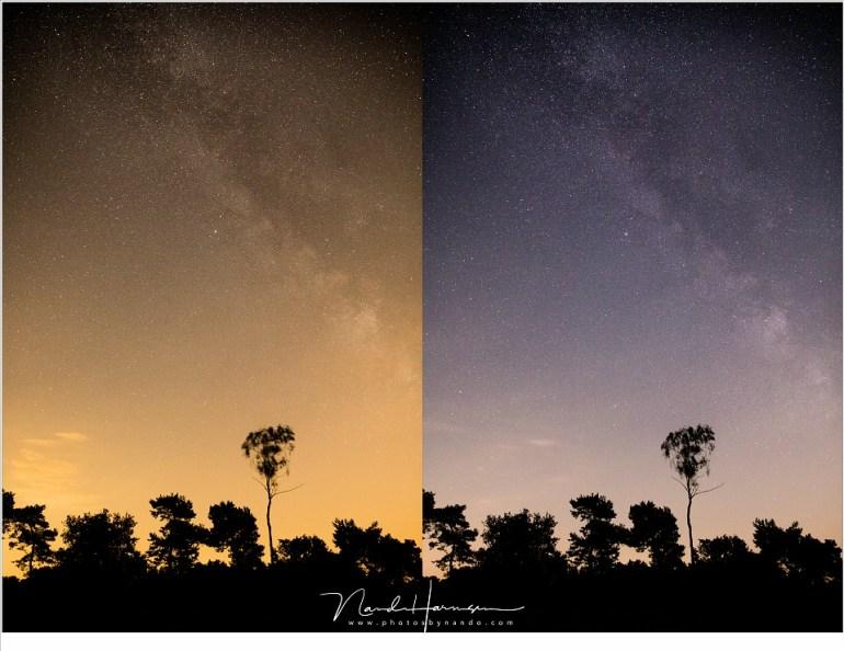 In dit vergelijk is het lichtverlies van het PureNight filter gecorrigeerd waardoor beide foto's nu dezelfde helderheid hebben gekregen.