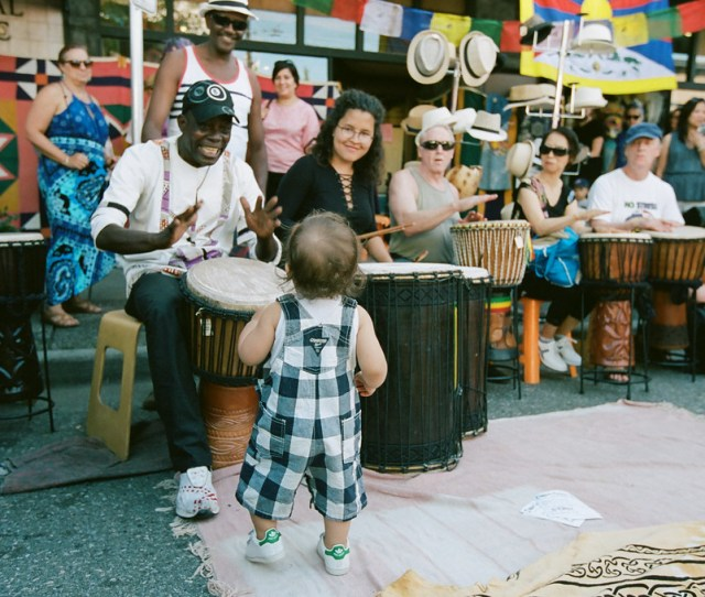 Toddler Dancing To Drum Music At Car Free Day By Mark Klotz
