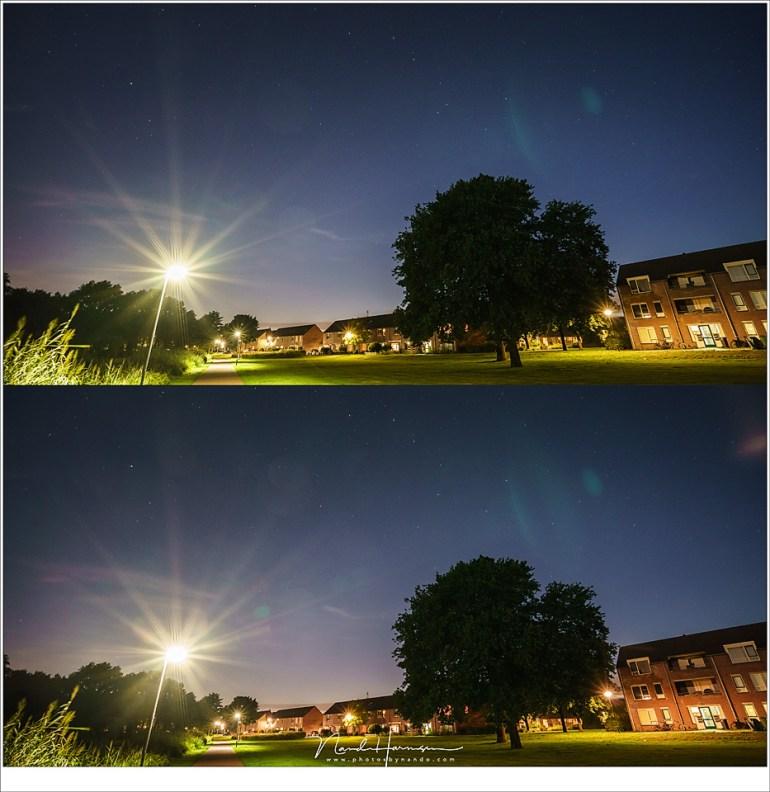 Zonder filter veroorzaakt het gebruikte objectief in deze omstandigheid flares. Met het PureNight filter erbij is de hoeveelheid flares groter geworden (Sony A9 + Zeiss FE 16-35mm f/4 ZA OSS @ 16mm | ISO1600 | f/5,6 | 8sec en 13 sec)