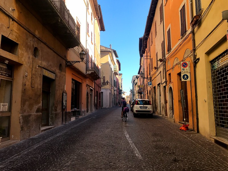italy cycling trip - streets of pergola town in marche