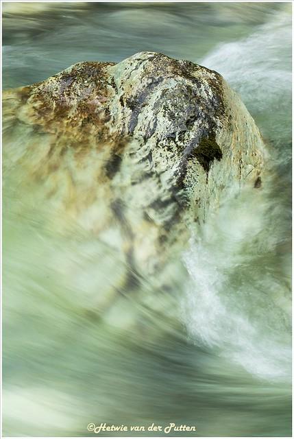 Een steen in de snelstromende rivier.