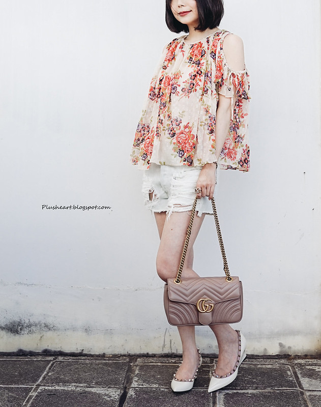 ▌Outfit ▌ 買了一件衣服之後好生氣!  Needle and Thread Prairie Rose Top + Gucci GG Marmont matelassé leather crossbody bag