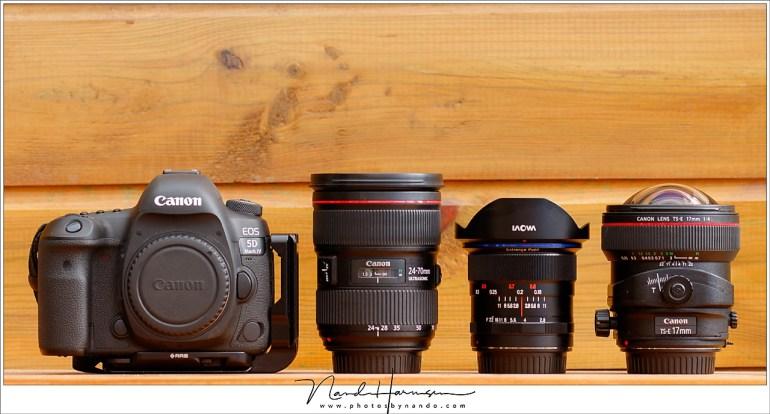 Sterrenfotografie verlangt groothoek, met een mogelijkheid tot een enkele keer een wat langer brandpunt. Ik gebruik hiervoor de 12mm, 24-70mm en de 17mm tilt-shift.