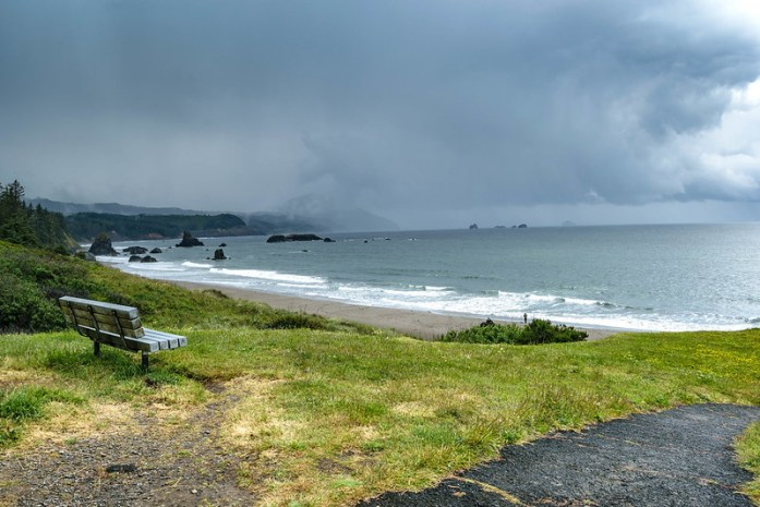 Port Orford, South Coast Oregon - town in the Highway 101 - beach landscape