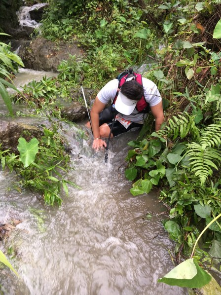 Mackio had his baptism of mud, slips, slides and a whole lot more in the trail