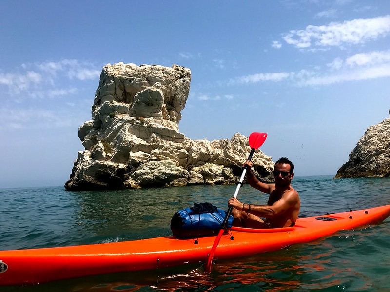 Canoeing by the foot of monte conero