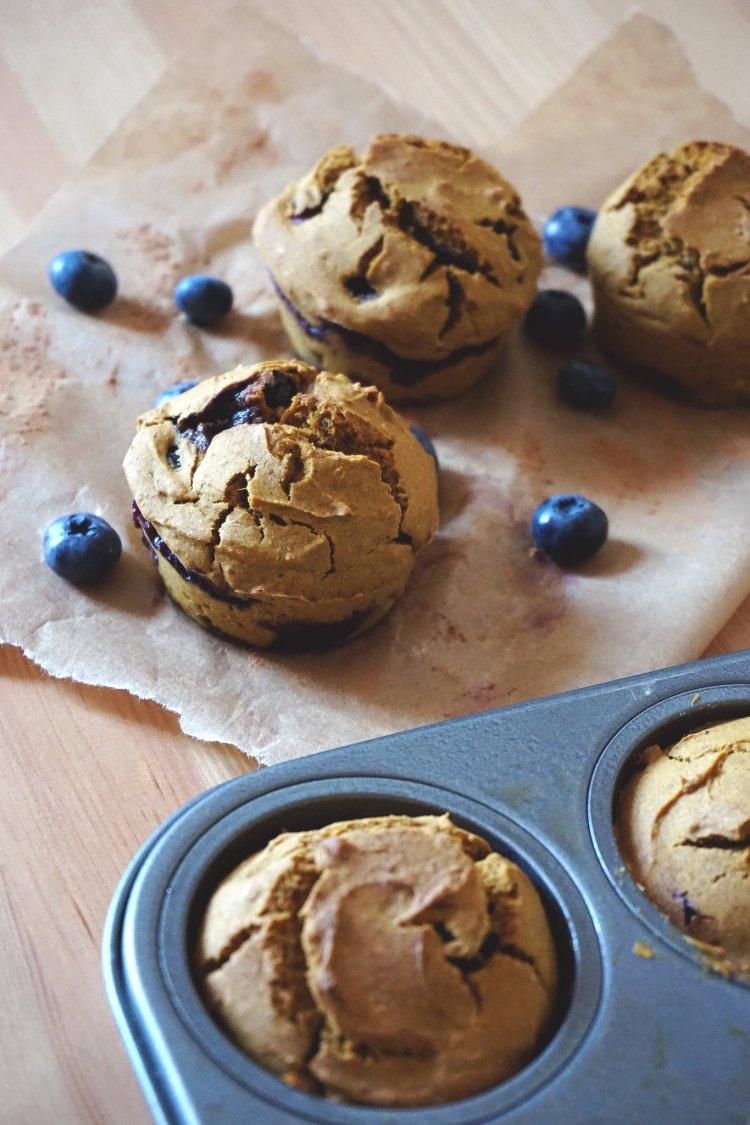 Gluten free blueberry pumpkin muffins