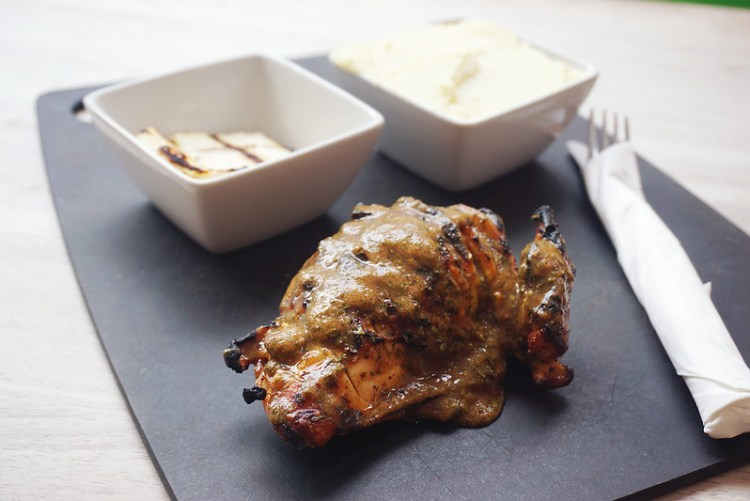 Gluten free chargrilled chicken with Lebanese sauce + mashed potatoes and grilled halloumi from Roosters Piri Piri | Gluten free Notting Hill guide | Gluten free London | Ladbroke Grove | Bayswater | Portobello Market | West London | Kensington