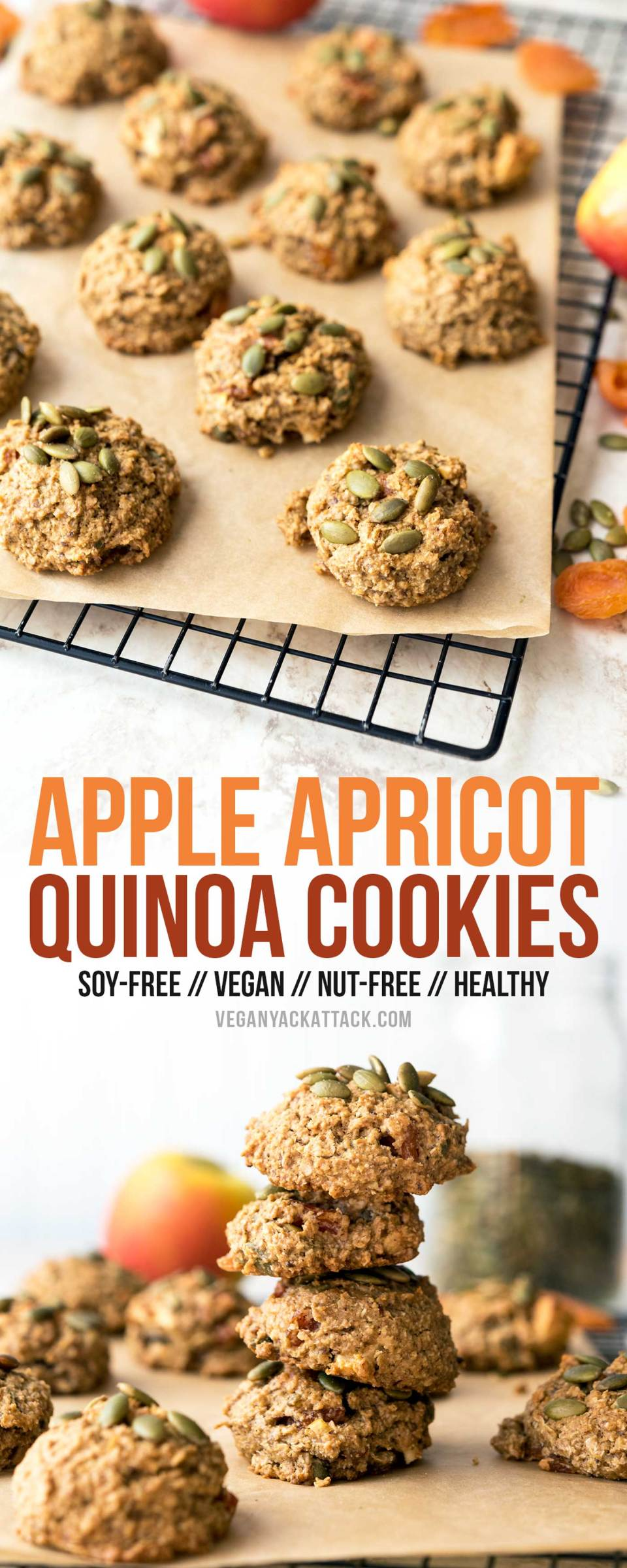 These Apple Apricot Quinoa Cookies are filled with fruity goodness and make great snacks! Made with whole grains and quinoa flakes, to keep you satiated.