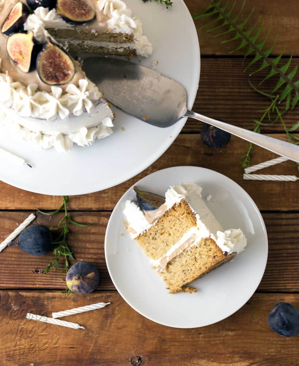 This Caramel Fig Vanilla Layer Cake has gorgeous layers of vegan buttercream, date caramel, and fluffy cake, topped with fresh figs! Soy-free, Dairy-free