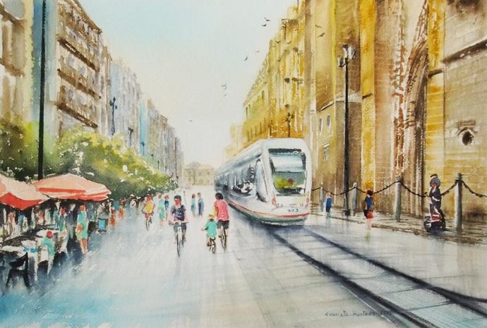 Acuarela de la Avenida de la Constitución (Sevilla) | © Evaristo Hurtado.