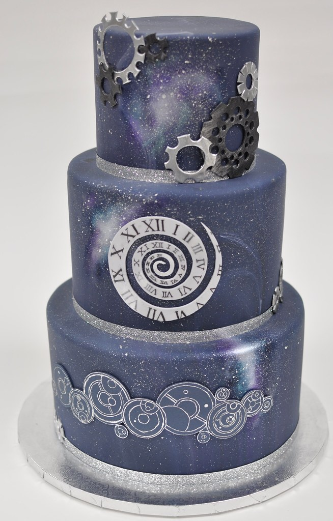 Doctor who wedding cake   cogs  spiral clock  space details       Flickr     Doctor who wedding cake   by jennywenny