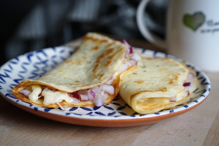 Gluten free low carb crepes with gouda and red onion   gluten free low carb pancakes   gluten free low carb recipes