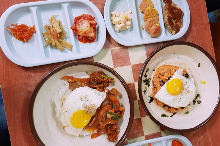 jeyuk deopbap and kimchi fried rice