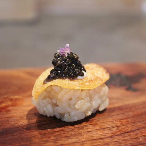 Robin SF - Smoked caviar, potato chip with aioli and chai blossom