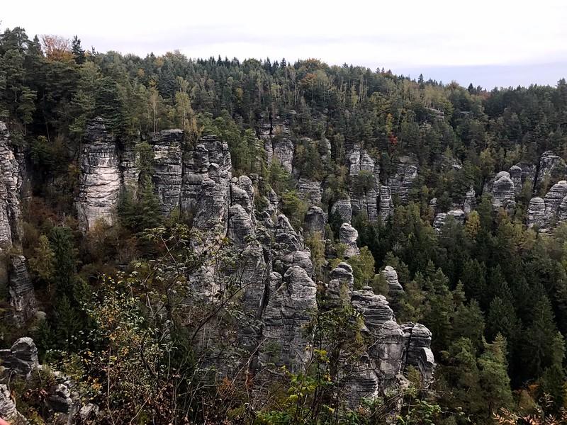 dramatic rock formations view from bastei bridge in saxon switzerland