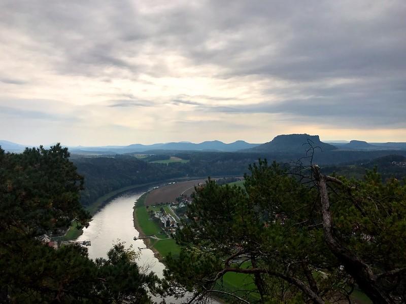 amazing view from bastei bridge in saxon switzerland
