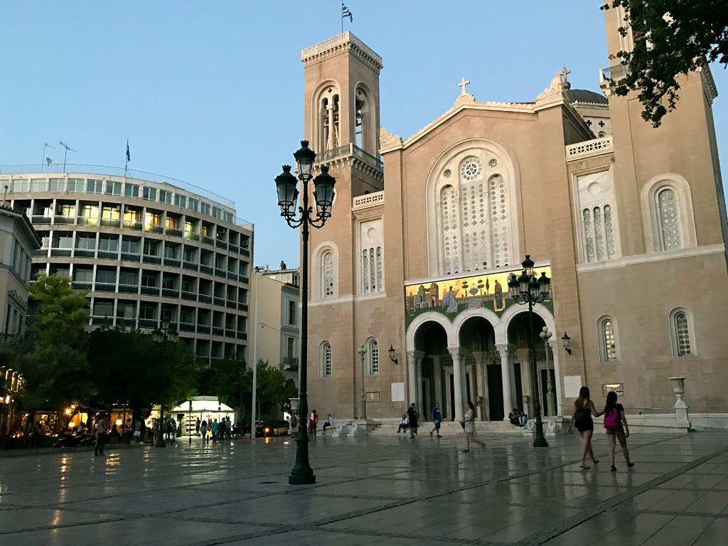 the metropolitan cathedral of athens in the evening