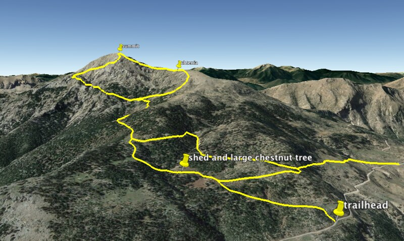climbing routes map of mount artemision in peloponnese greece
