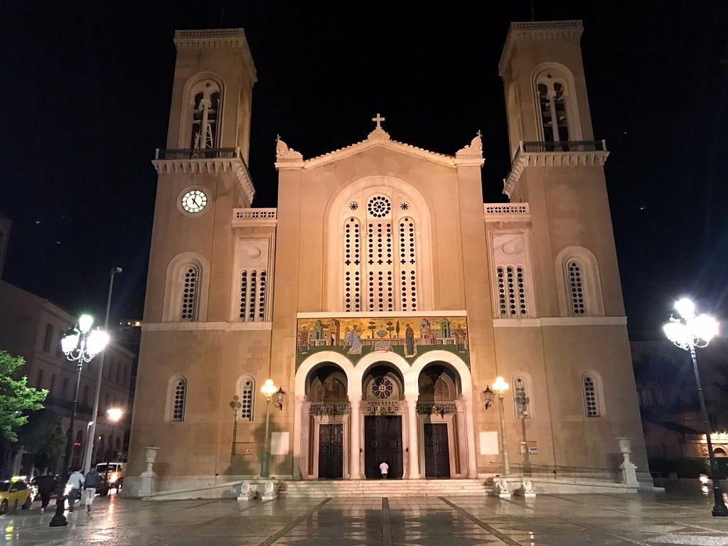 church facade in central athens