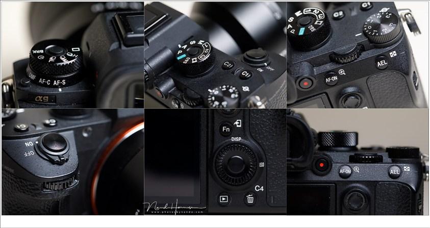 De knopjes en instelwieltjes van de Sony A9 zitten allemaal op de juiste plek, maar wel heel dicht op elkaar vanwege de kleine camerabody