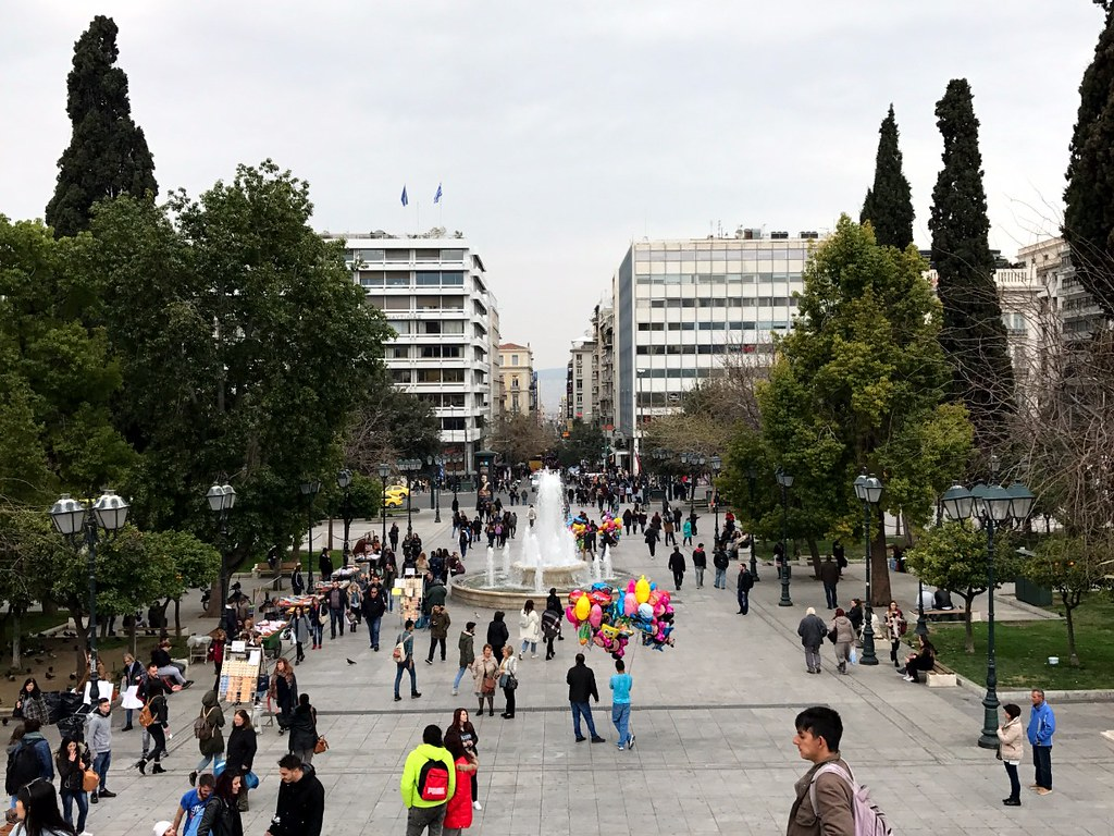 busy syntagma square in athens