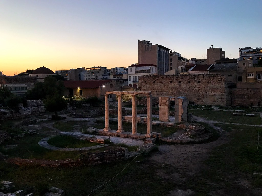 ancient ruins near monastiraki athens in the evening