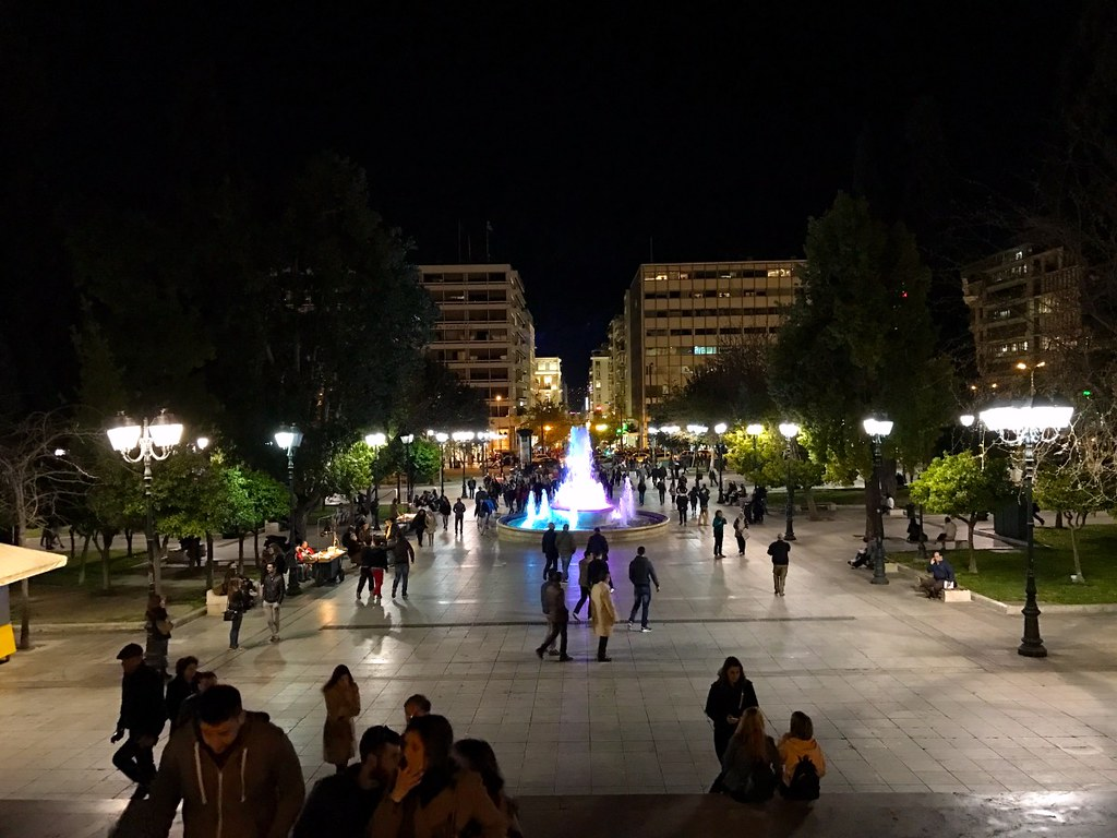 syntagma square in line with ermou street by night