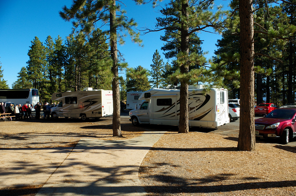 Leprechaun (rental) and Born Free Class C Motorhomes in Sunset Point parking lot, Bryce Canyon National Park, Utah, October 7, 2015