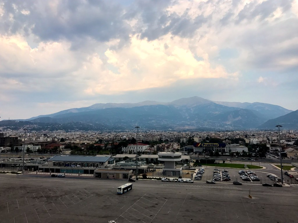 amazing view of the city of patras in greece from the ship in the port