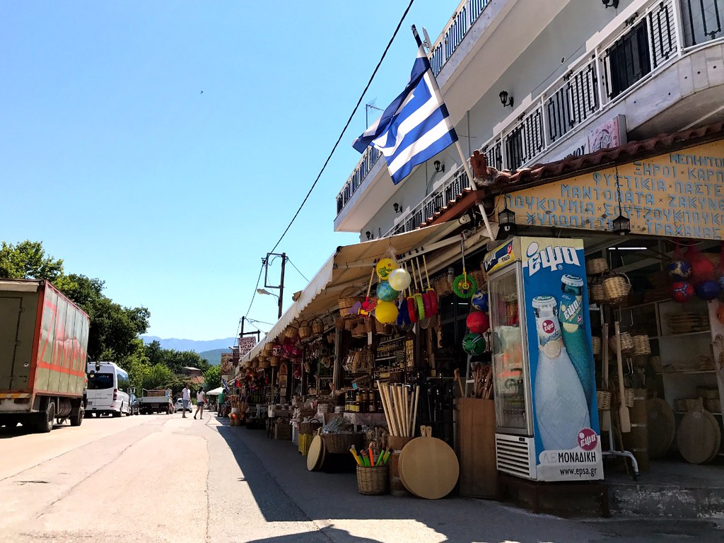 market with traditional products in saint john the russian village on euboea island greece
