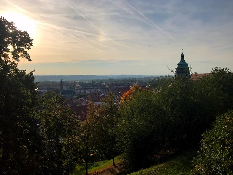 sunset view of pirna town from the Sonnenstein castle in saxon switzerland