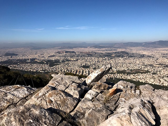spectacular view of athens from top of mount hymettus
