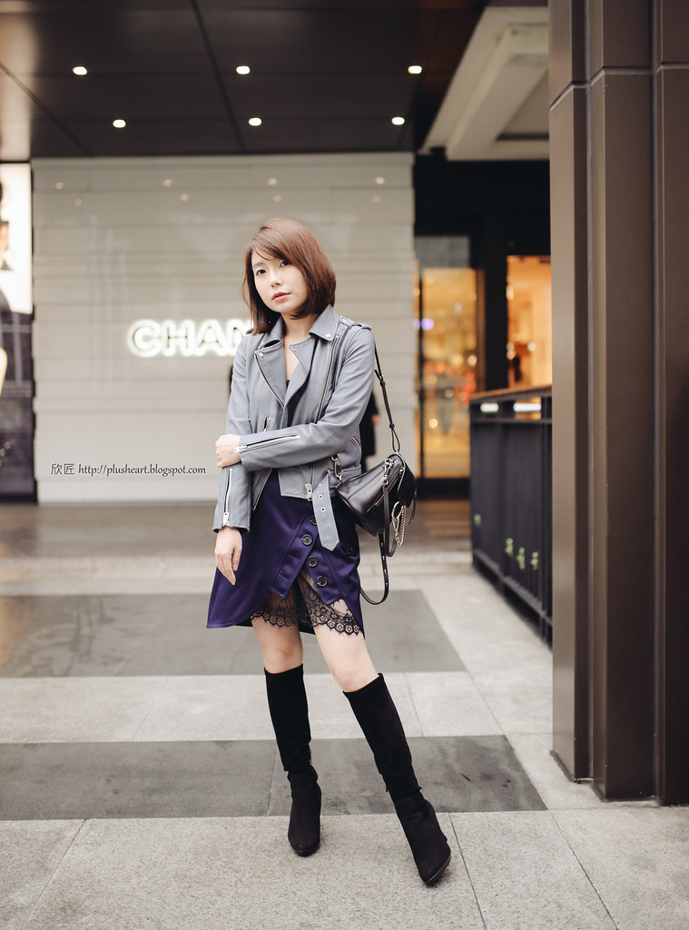 ▌Outfit ▌ All Saints Balfern藍灰色皮衣 + Self-portrait不對襯蕾絲裙 + chloe Faye mini Backpack + 王妃愛靴Aquatalia Rumbah