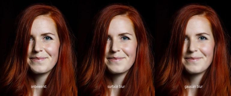 Het effect van surface blur en gausian blur naast een onbewerkt beeld. Het lijkt een goed effect te geven, maar als je goed kijkt is het geen mooi resultaat (surface blur) of een te soft effect (gausian blur)