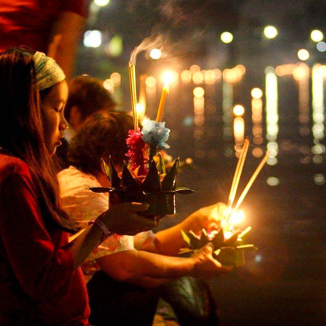 Floating Krathong in the rive and make a wish