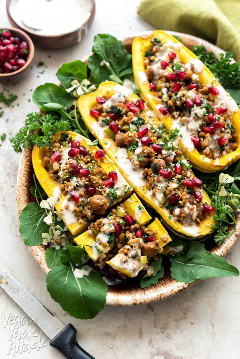 These Couscous-Stuffed Delicata Squash make for a beautiful and comforting dish, to adorn your holiday table, this year! Made with Wild Garden Pilaf. #vegan #soyfree #nutfree #WildGardenEats