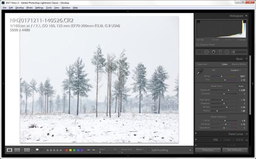 Nabewerken van sneeuwfoto's
