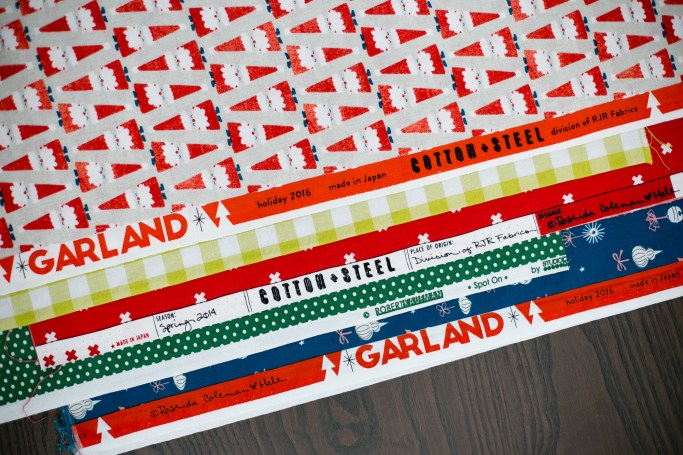 Holiday prints used for Laguna Table Runner (pattern version)