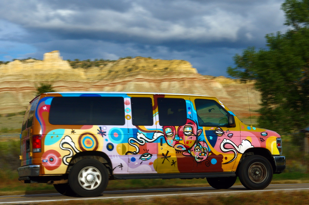Escape Rental Campervan, Utah Highway 12 in Cannonville, Utah, October 6, 2015, elevation 5918 ft (1804 m).  Escape Campervans has multiple rental locations in the US, with a new location opening soon in Vancouver, Canada.