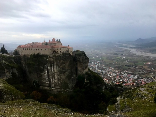 The Monastery of St Stephen in Meteora and the valley of Peneios River below